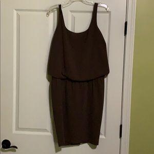 Olive polyester tank dress.